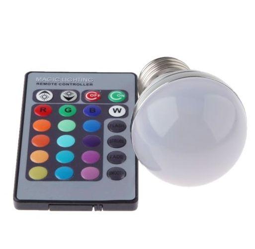 LED RGB žárovka E27 9 W, měnící barvy, s dálkovým ovládáním