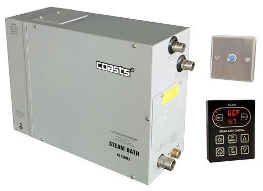 Parní generátor, vyvíječ páry pro saunu KSB-75CD s ovládacími panely KS-320A a KS30A, 380V