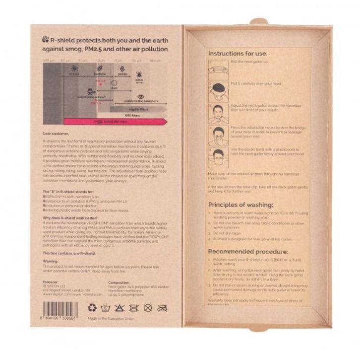 Respilon RESPIRÁTOR - Nákrčník s nanovlákenným filtrem 50 x vyprání WHITE