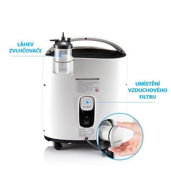 Kyslíkový koncentrátor, dýchací přístroj YU 8F-5AW s nebulizérem a dálkovým ovládáním - Z